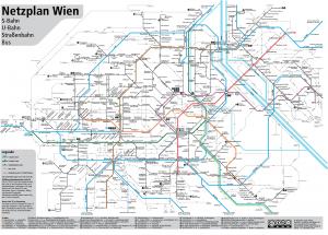 Netzplan Wien 2016 (Stand 13.12.2015) mit allen S+U-Bahnen, Straßenbahnen und den Buslinien.